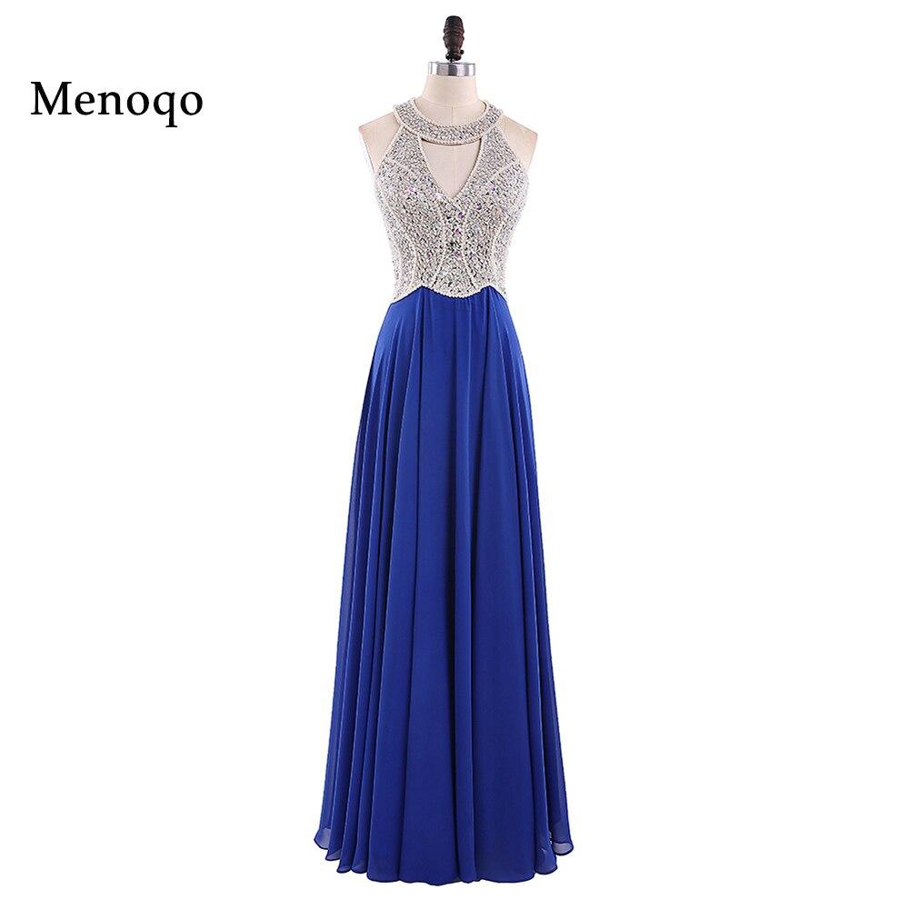 Vestidos de Fiesta 2018 Long Evening Dresses Royal Blue Chiffon A line Formal Long Dress Halter Abendkleider Custom made 102417W