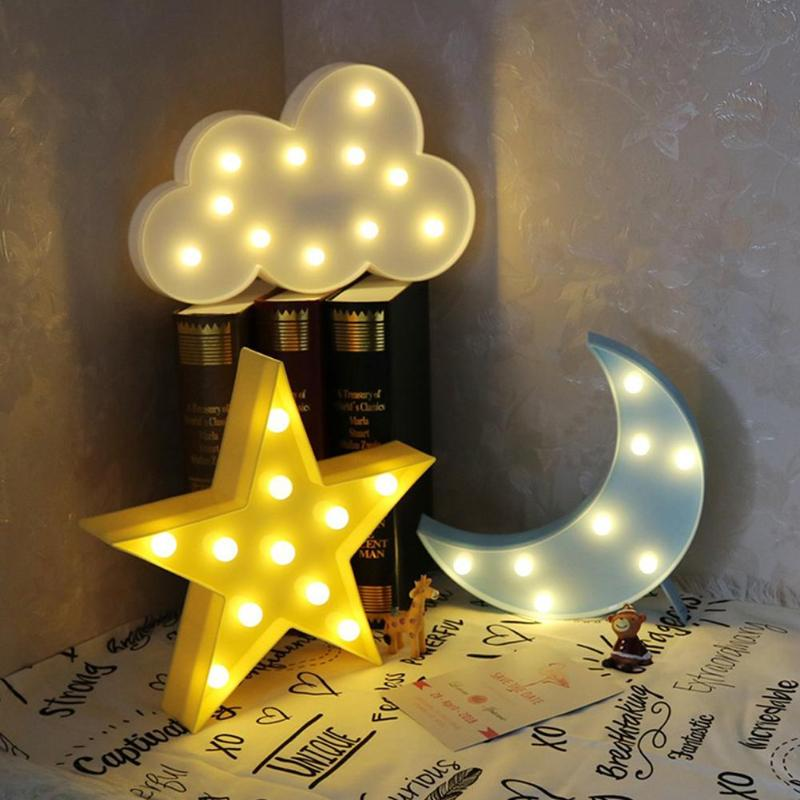 1/3pcs Lovely Horse Cloud Light 3d Star Moon Night Light Led Cute Marquee Sign For Baby Children Bedroom Decor Kids Gift Toy Beautiful And Charming Lights & Lighting Led Table Lamps