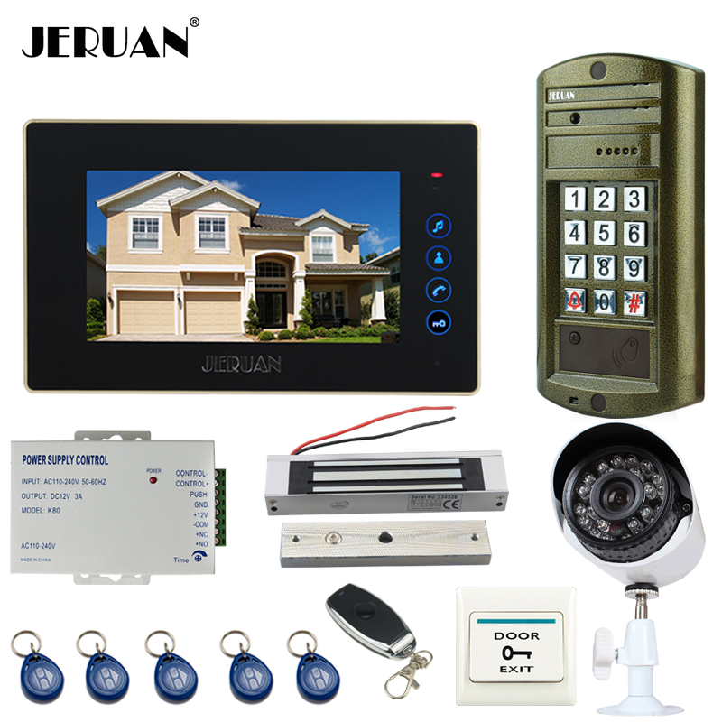 JERUAN NEW 7 inch touch key Video DoorPhone Intercom System kit Waterproof password keypad HD Mini Camera +Analog Camera 2V1 jeruan wired 7 touch key video doorphone intercom system kit waterproof touch key password keypad camera 180kg magnetic lock