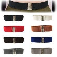 Soft Waistband Buckle Ladies Stretch Solid Korean Style Trimmer Durable Metal Elastic Waist Fashion Women Belt #5