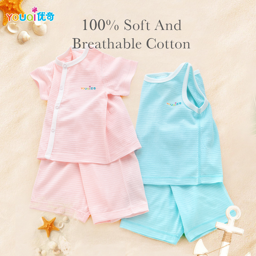 YOUQI Summer Baby Clothes Cotton Boy Clothing Set Baby Girl Clothes Short Sleeve Toddler Infant Costumes Tops Pants Pajamas Suit newborn infant baby boy girl clothes hooded vest top short pants outfits set 2pcs suit summer baby boy clothes