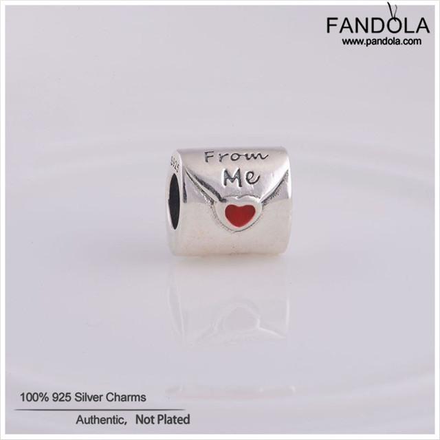 100% 925 encantos de prata esterlina grânulos de charme para as mulheres de jóias carta de amor de mim serve para pandora pulseira diy fazendo lw077