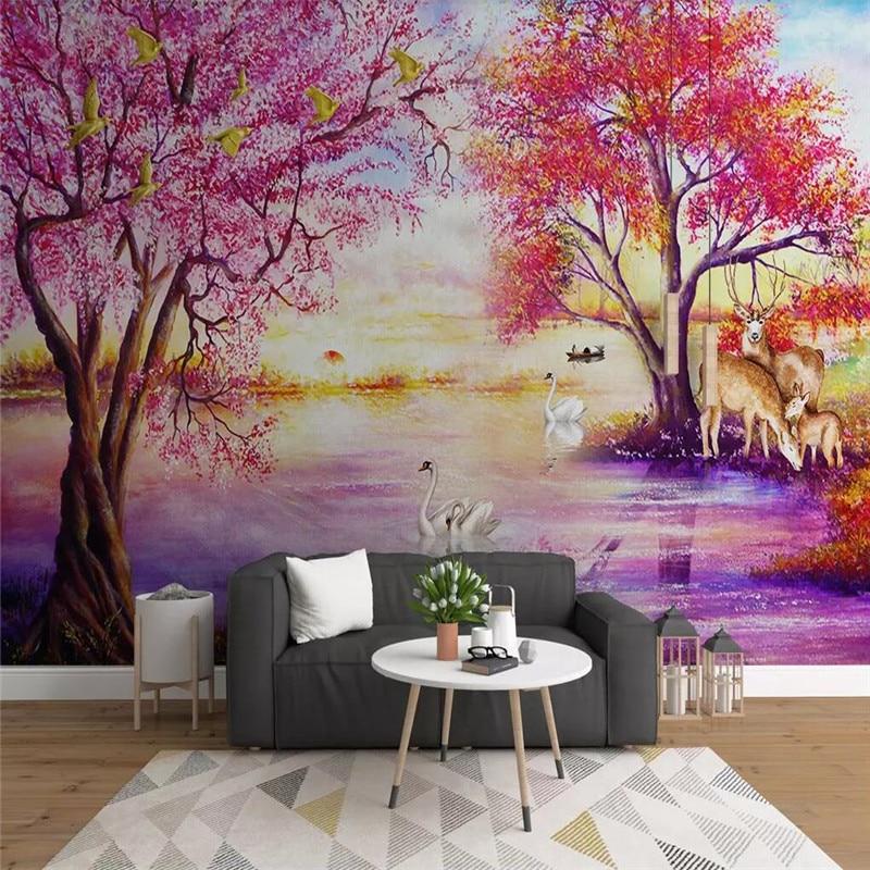 European forest tree elk swan lake wall professional production murals, wallpaper wholesale, custom poster photo