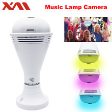 New technology wifi lamp camera with bluetooth speaker colorful lighting ip camera wireless bulb 360 degree ip camera home(China)