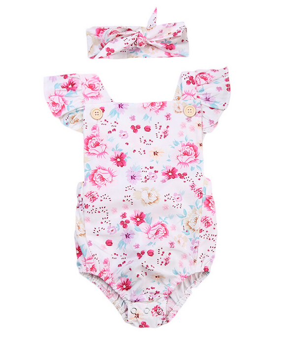 0-24M Girls Bodysuit Infant Baby Girls Foral Ruffles Bodysuit Jumpersuit+Headband Outfit Clothes Summer Baby Clothes Hot