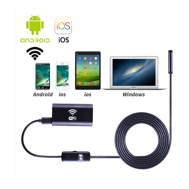 8mm Wifi Endoscope Soft Cable Mini Smartphone Camera Android HD 720P Surveillance Tube Pipe For Android iphone Windows