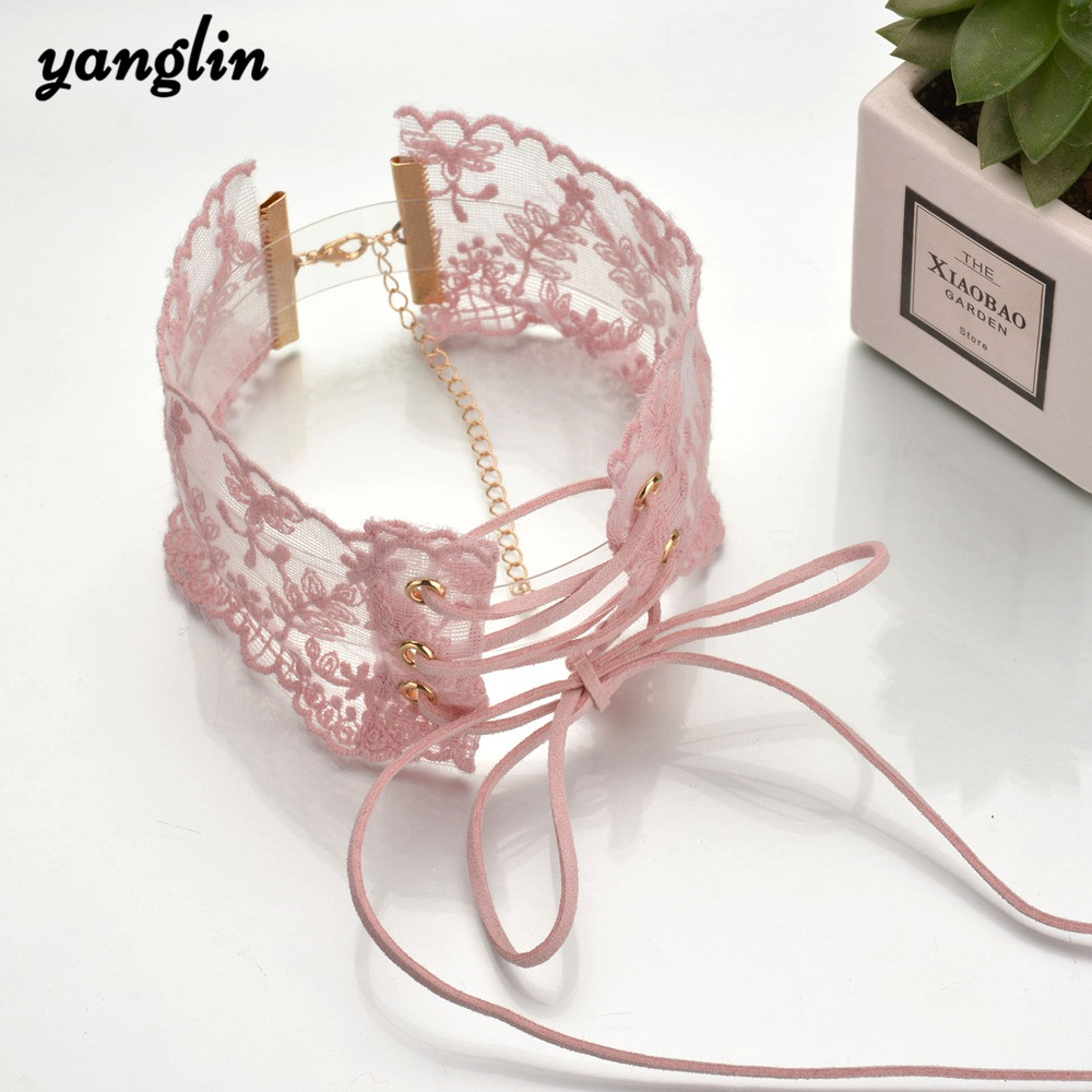 Cute Romantic Women Fashion Necklaces Pink Lace Flower Velvet Wide Chokers Necklaces For Women Girls Sexy Choker Necklace Gifts