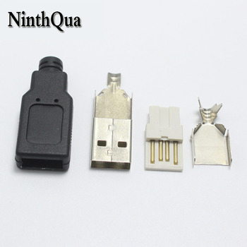 100set Type A Male USB 2.0 Extender Cord Adapter Data Sync Converter 4 in 1 Black DIY Repair Connector Free-Welding
