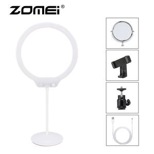 ZOMEI Ring Light Kit Mini Dimmable Flexible Photographic Lighting Table LED Ring Video Light with Stand for Makeup Studio Phone