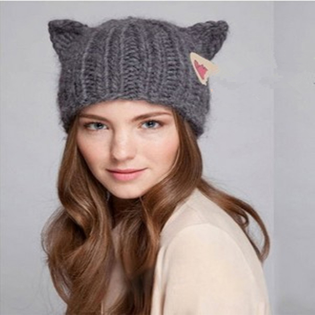 VORON Brand Warm Women Knitted Hat Winter with cat ear Cute Lady pompon  flexible Beanie Hats fa24e373a724