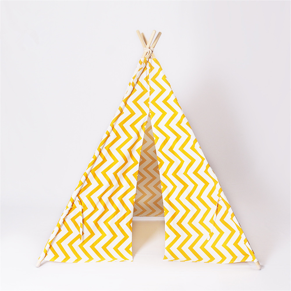 Yellow Zigzag Children Teepee Play Tent Indian Teepee Wigwam Indoor Play Tent free shipping kid tent indian teepee tents