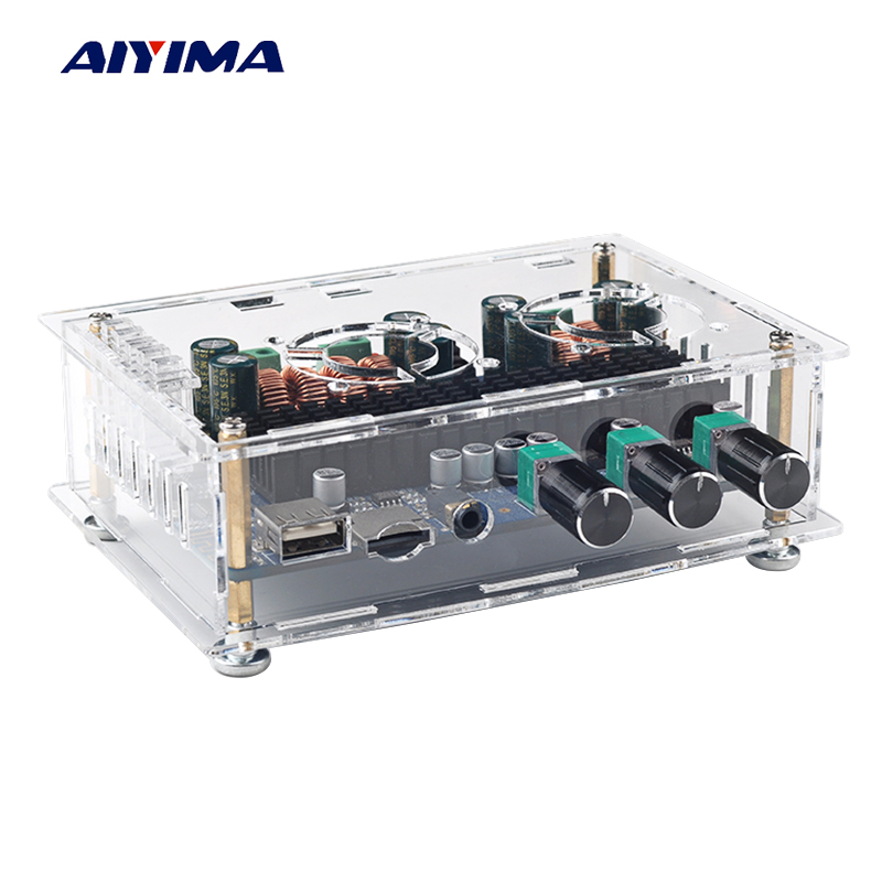 Aiyima 2.1 Channel TPA3116 Audio Amplifier Board 50W+50W+100W Digital Bluetooth Receiver Amplifier Support USB TF Card Decoding 3 7 5v bluetooth receiver module power amplifier board bluetooth board card mp3 decoding board can make a phone call