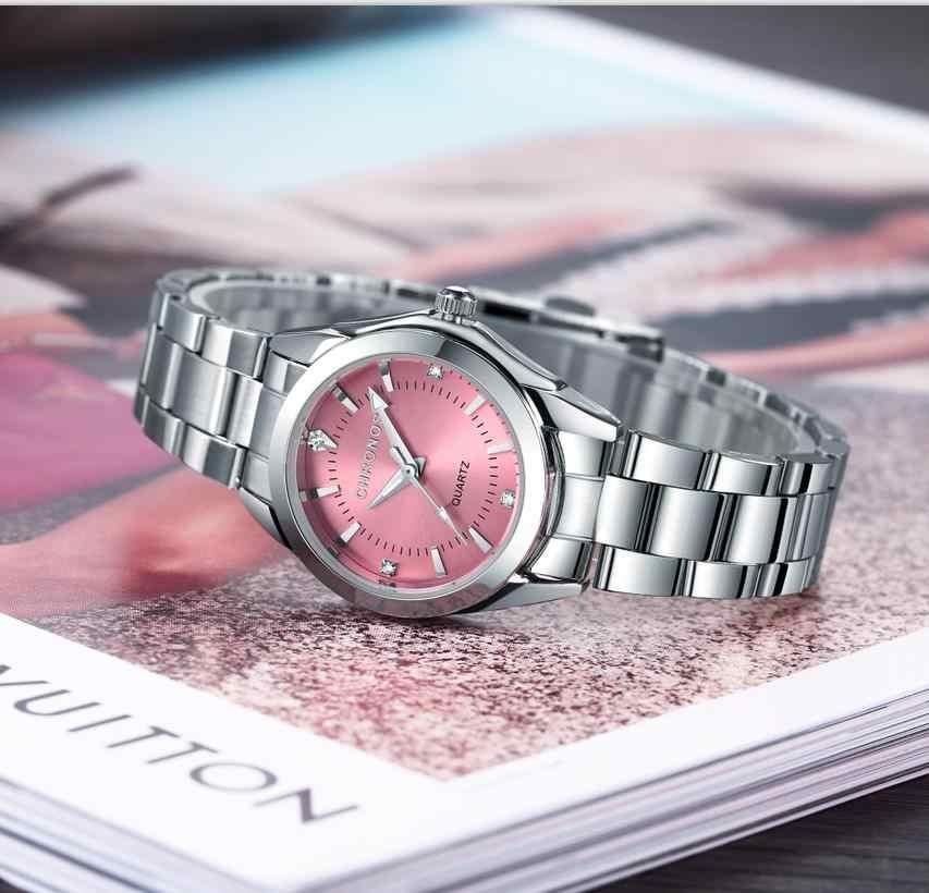 CHRONOS женские Роскошные Кварцевые часы из нержавеющей стали со стразами женские деловые часы Японский кварцевый механизм Relogio Feminino