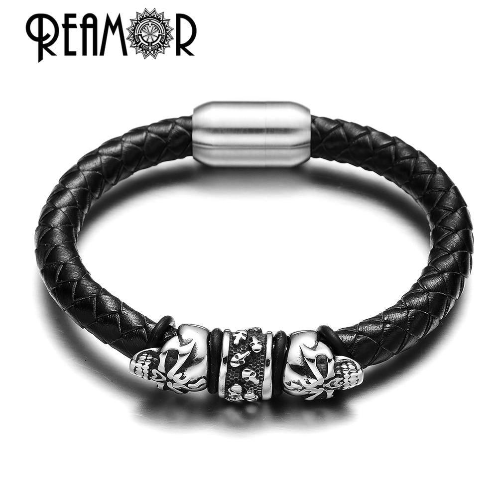 REAMOR 316L Manik-manik Stainless Steel Gothic Punk Skull Beads - Perhiasan fashion - Foto 4