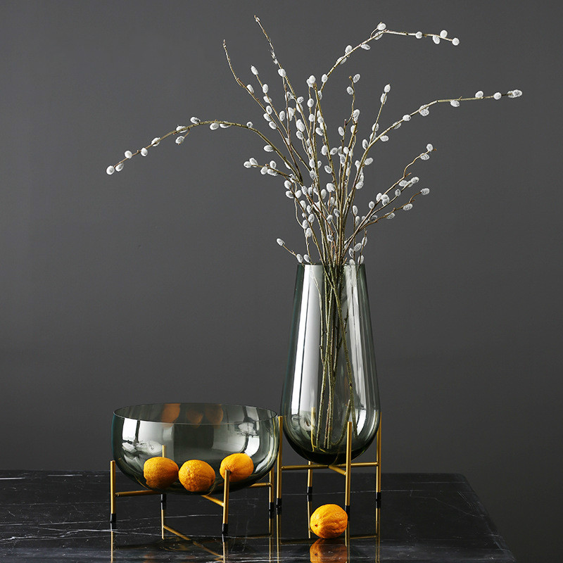Fashion Light Luxury Glass Vase Fruit Plate Decoration Modern Minimalist Home Soft DecorationFashion Light Luxury Glass Vase Fruit Plate Decoration Modern Minimalist Home Soft Decoration