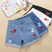 High Waist Denim Shorts Women s Clothing Summer New White Burr Loose Korean version Roses Embroidery