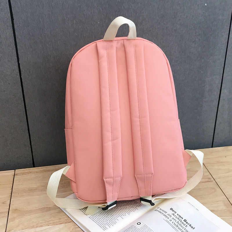 Alta Qualidade Mulheres Campus Universitários Lona Mochila Escolar para Adolescentes do Sexo Feminino Bagpack Viagem rosa vs