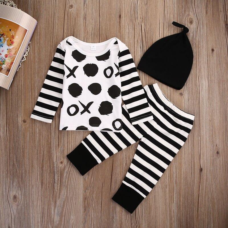 Newborn Baby Infant Boy Girl X O Long Sleeve Tops T-shirt+Pants 3pcs Outfit