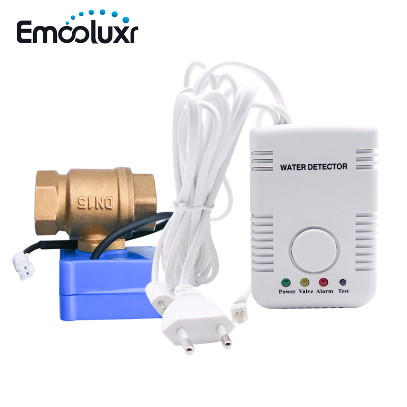 Water Detector Water Leakage Sensor Alarm System With Auto Shut Off Valve DN15 And Sensitive Water Probe For Russia Kazakhstan