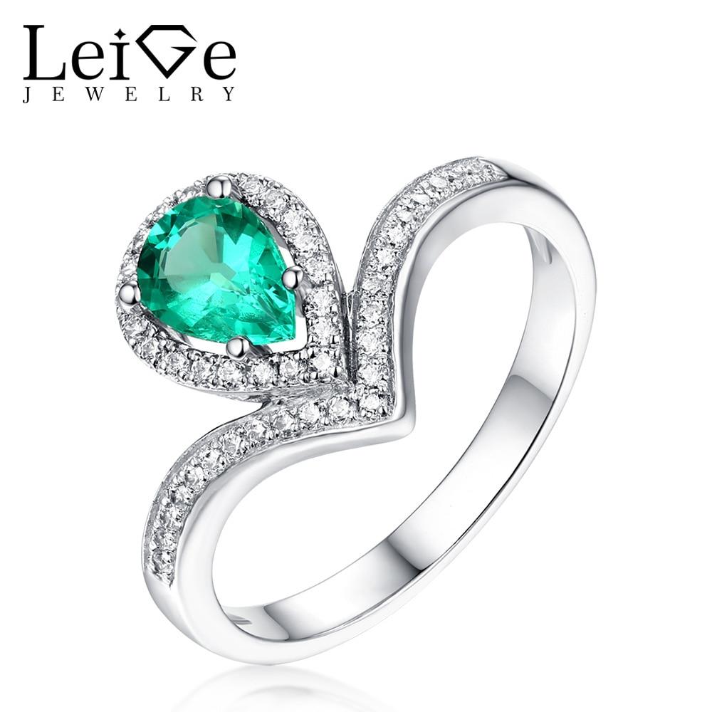 Leige Jewelry Tear Cut Green Emerald Ring for Women 925 Sterling - Fine Jewelry