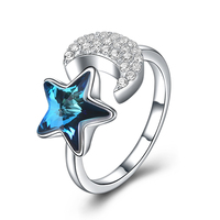 Fashion 925 Sterling Silver Ring For Women Blue Crystal Zircon Moon Adjustable Rings For Women Lover