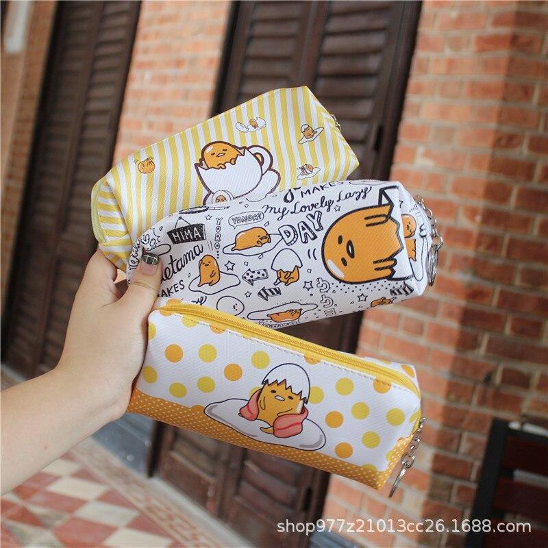 IVYYE 1PCS Yellow Gudetama Anime Cosmetics Bags PU Zipper School Pencil Case Storage Pen Bag Pouch Stationery New