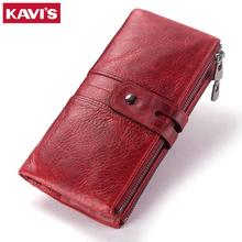 2018 Genuine Leather Women Wallet Female Coin Purse Hasp Portomonee Clutch Money Bag Lady Handy Card Holder Long for Girl