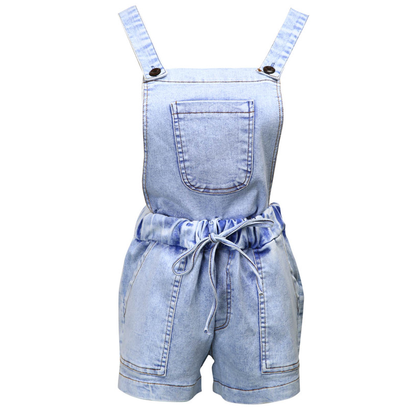 Stylsih Women clothes Lady Bodycon Sexy Denim Detachable Playsuit sleeveless Button pocket Romper one pieces