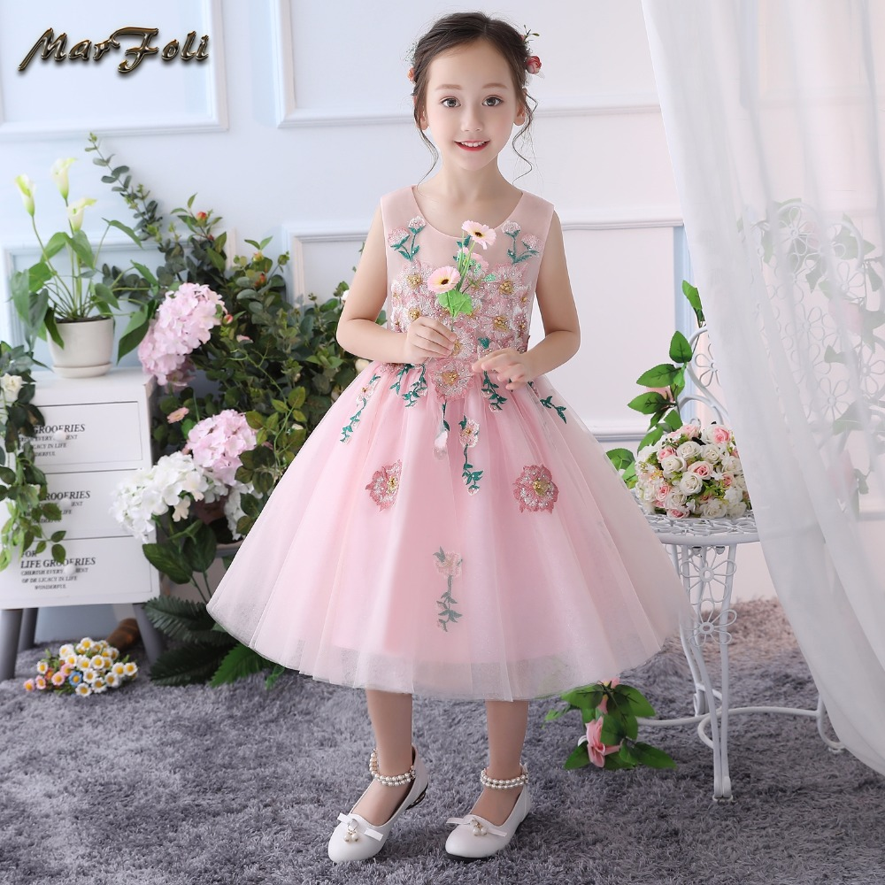 Marfoli Flower Girls' New Princess Dress Butterfly Party Costumes with Floral and Appliques lace birthday party ball gown dress