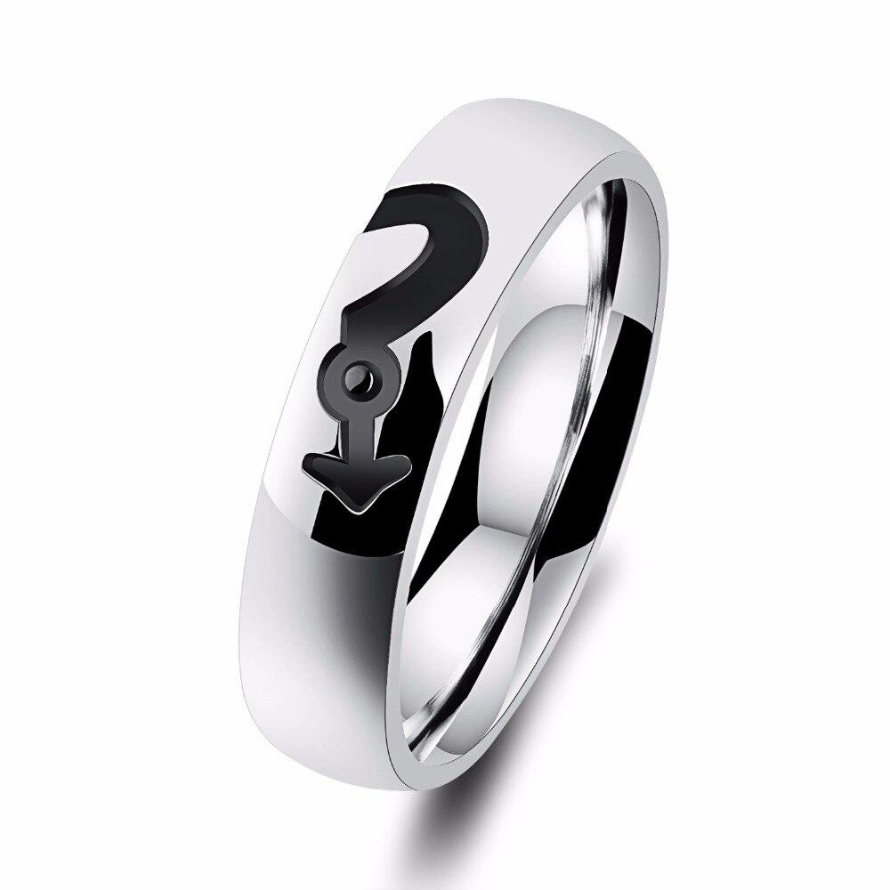 Micro декор циркон Titanium стальное кольцо покрытие цвета розового золота символ любителей кольцо аксессуары Оптовая продажа обувь для мужчин и ...