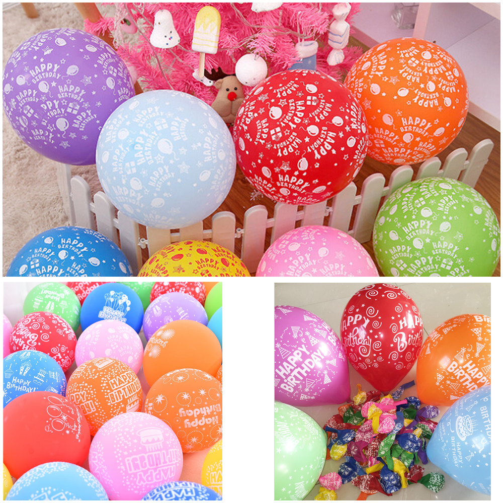 50pcs/lot 12 inch 2.8g happy birthday balloon latex round colorful balloon for c