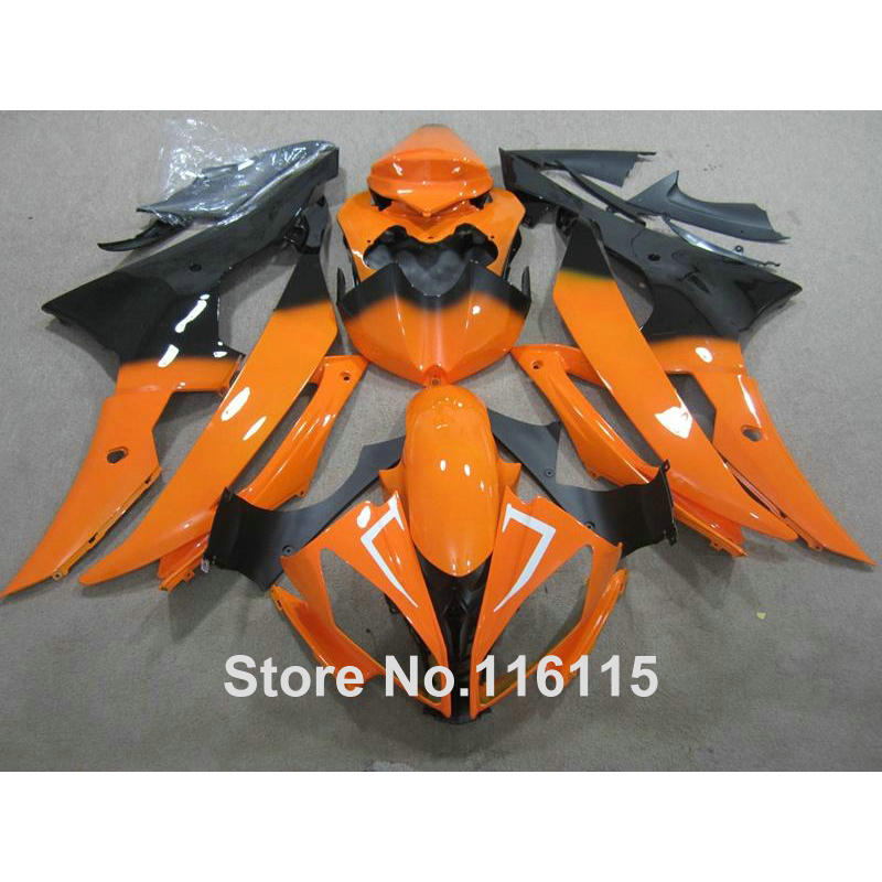 hot sale ABS fairing kit for YAMAHA R6 2008 -2014 orange black fairings set YZF R6 08 - 13 14 #2173 Full injection injection molding bodywork fairings set for yamaha r6 2008 2014 blue white black full fairing kit yzf r6 08 09 14 zb77