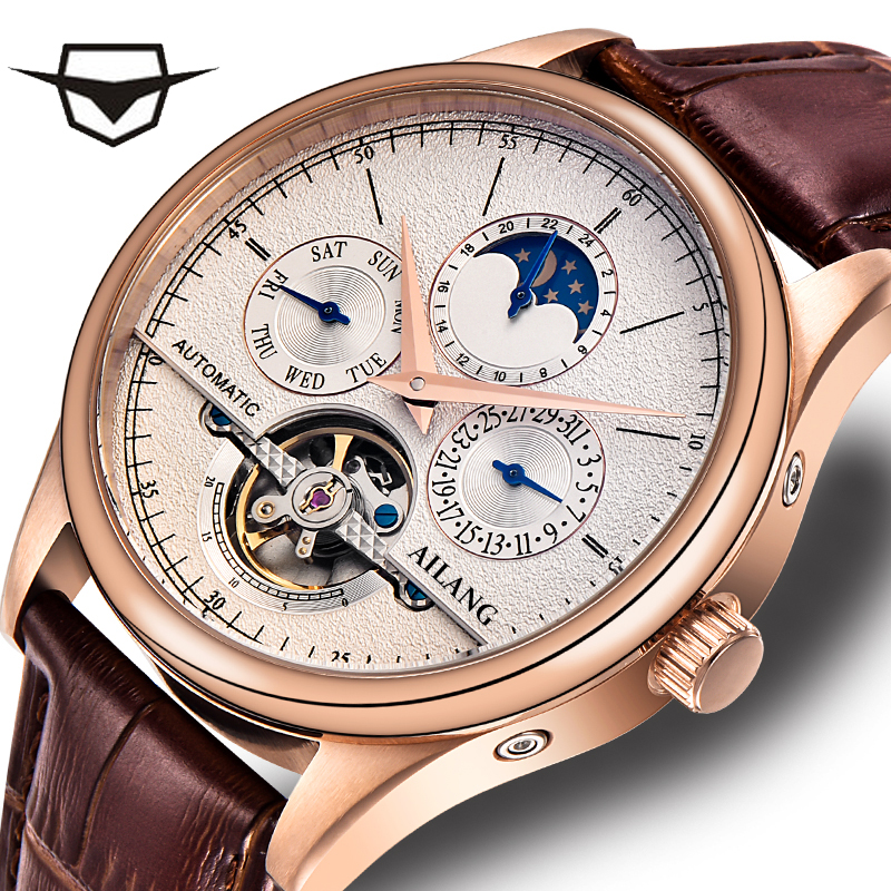 Ailang Classic Tourbillon Mechanical Watch Automatic date Calendar Day Genuine leather strap Analog Watch Rose Gold men hommeAilang Classic Tourbillon Mechanical Watch Automatic date Calendar Day Genuine leather strap Analog Watch Rose Gold men homme