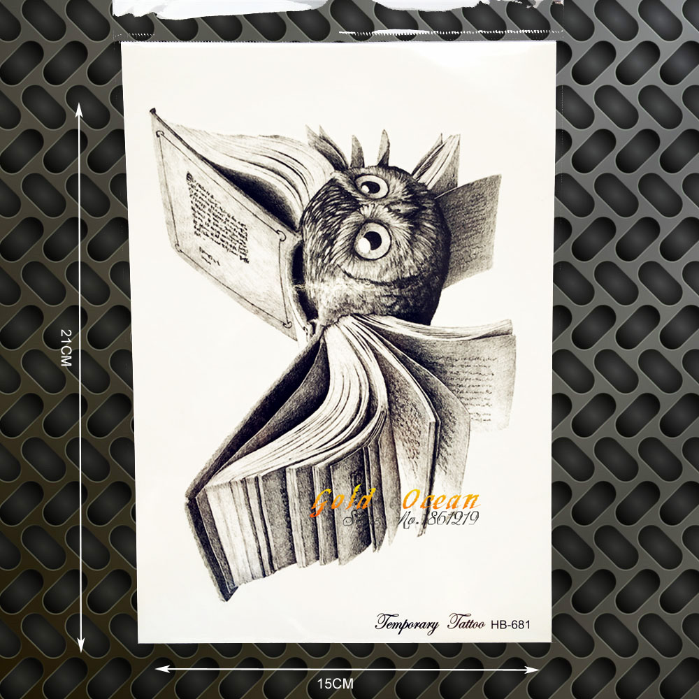 Vintage Harry Potter Temporary Tattoo Owl Wings Magic Book