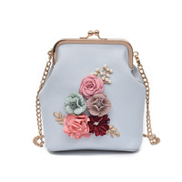 LUDESNOBLE Brand 3D Flowers Chains Shoulder Bag Women Leather Handbags Bags For Women Hand Bags For