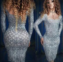 Kadın Moda İnciler Rhinestones Seksi Elbise akşam partisi kıyafeti Uzun Kollu Balo Gri Elbise Şarkıcı Doğum Günü Kutlamak Elbiseler
