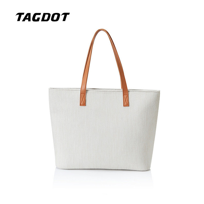 Tagdot white linen airbag Women bag for Laptop shoulder bag for Women stylish Casual hand Notebook bag 13 13.3 14 15 15.6 inch stylish fulled white daisy pattern scarf for women