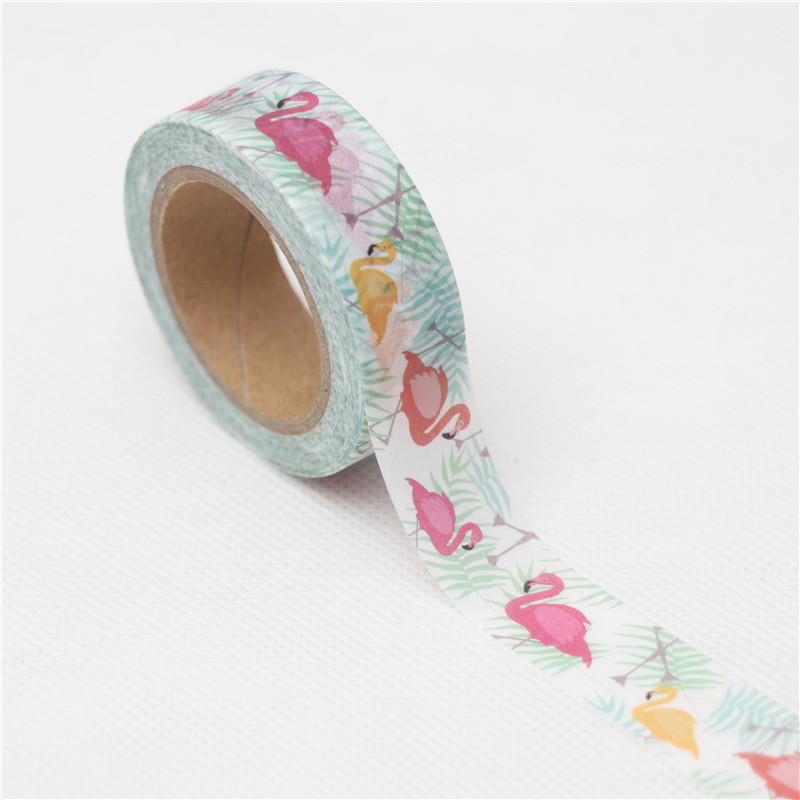 15mm*10m Kawaii Lovely Flamingos Washi Tape DIY Scrapbooking Sticker Label Masking Tape School Office Supply Gift Stationery