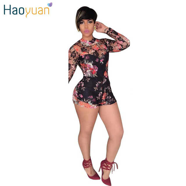 Sexy Womens Floral Rompers Jumpsuit Combishort Femme Round Neck Long Sleeve Backless Bodycon Jumpsuit Mesh Casual Club Bodysuit