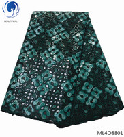 BEAUTIFICAL зеленая кружевная ткань Африканское кружево органзы кружева с блестками стилей 5 ярдов/шт Лидер продаж для одежды ML4O88