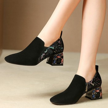 MLJUESE 2020 women pumps Kid Suede autumn spring slip on black color crystal square toe high heels lady shoes party size 34-42