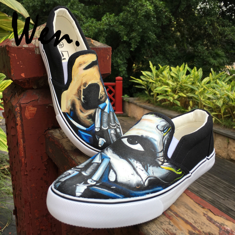 Wen Mens Platform Sneakers Shallow Mouth Slip on Hand Painted Shoes Design Machine Hand Creepy Half Face Mask Original Plimsolls creepy comics volume 2