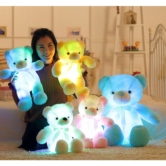 25/50cm Light Up LED Teddy Bear Stuffed Animals Plush Toy Colorful Glowing Teddy Bear Christmas Gift For Kids Girlfriend Gifts