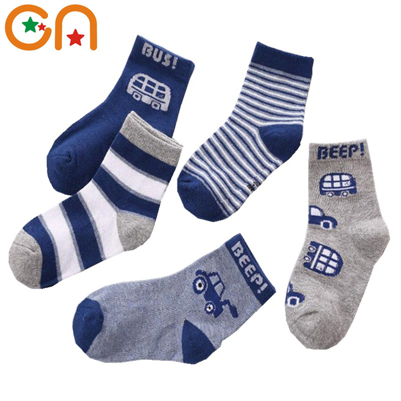 5pairs/lot Autumn Winter New Kids Cotton socks Boy,Girl,Baby,Infant fashion stripe Cartoon sports socks,For Children gifts CN