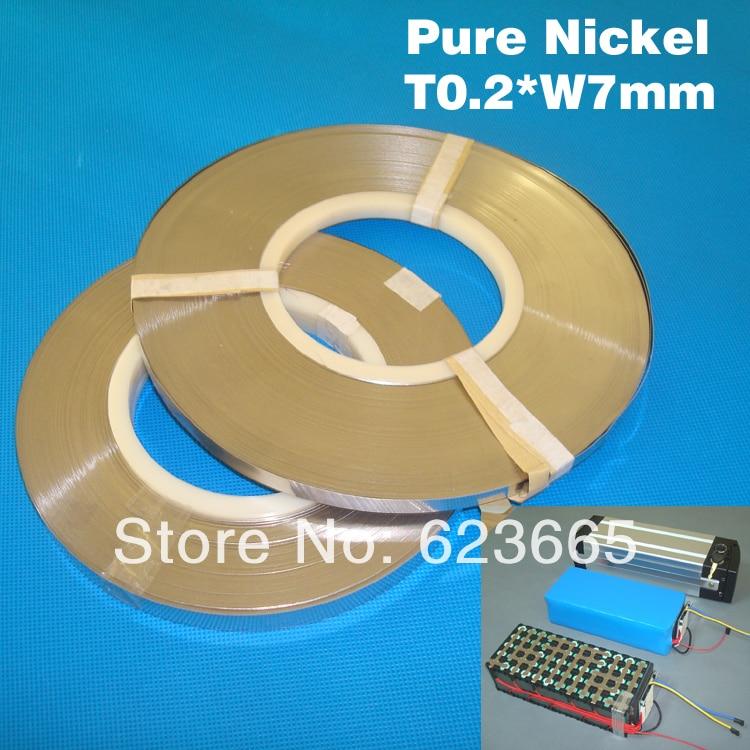 Livraison gratuite 0.2mm bande de nickel pur pour 18650 Li-ion connecteur de cellules 0.2*7mm bande de nickel 18650 lithium batterie nickel ceinture