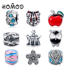 HOMOD 1PCS 9 Styles Choice Crysal Floating Bead Fit European Charm Bracelets Jewelry