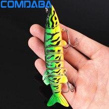 1PCS 12.5cm/20.6g Artificial Fishing Lure Bait 3D Eyes 9 Segments Fish Lures 2 Hooks Sea Fishing Swimbait Crankbait Tackle