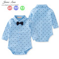Baby boy algodão roupa primavera e no outono céu azul manga comprida gentlemen gravata borboleta bodysuit roupas roupas de festa de aniversário infantil