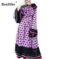 RealShe Spring Print Dress Women 2018 Womens Korean Long Flare Sleeve Dresses Tunic Vintage Dress Femme