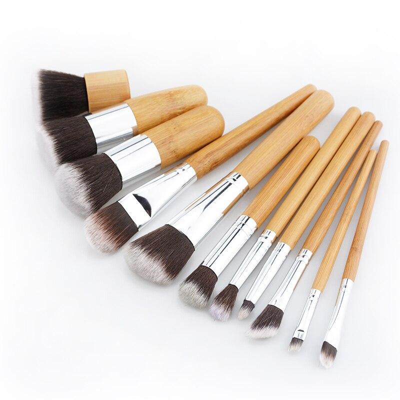 11 unids bambú natural profesional cosmética Cepillos conjunto Fundación mezcla Cepillos herramienta cosmética kits cosmética set Cepillos er